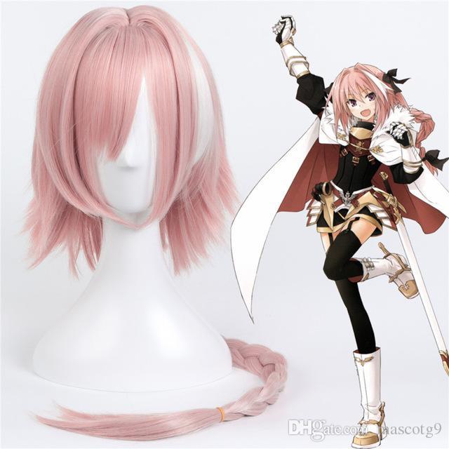 FGO Fate / Grand Order Astolfo Cosplay peluca para mujer niña 60 cm larga recta trenzada sintética peluca de pelo Anime Costume Party Pink