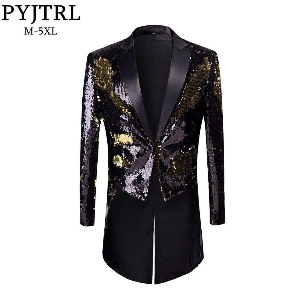 PYJTRL New Male Fashion Plus Size Gold Black Double-Color Sequins Tailcoat Stage Singers Wedding Grooms Tuxedo Blazer Coat Men T200324