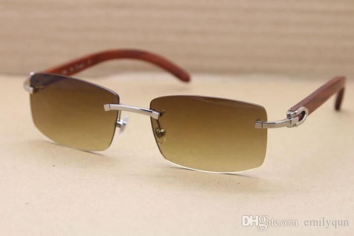 Marca De Madeira Natural Óculos De Sol para Mulheres Dos Homens De Prata De Ouro Sem Aro Óculos De Sol Marrom Lentes Exquisite Óculos De Sol De Madeira 60mm com Caso Original