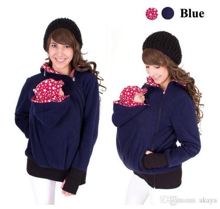 2016 الطفل الناقل سترة الكنغر الشتاء الأمومة قميص معطف لل نساء الحوامل سميكة الحمل طفل يرتدي معطف المرأة