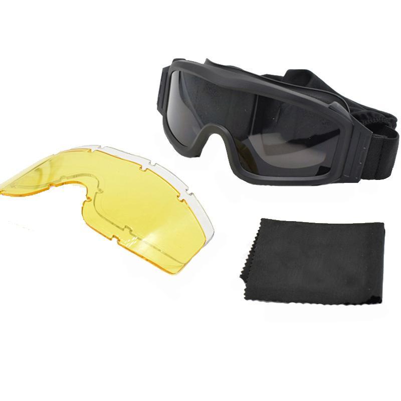 Caça Tiro Combate Militar de Óculos Outdoor engrenagem Homens Com 3 lentes Tactical Óculos exército Airsoft à prova de vento óculos de sol