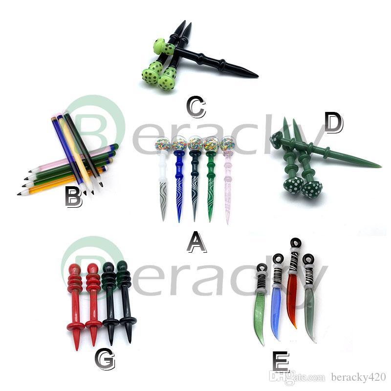 Glass Dabber Tool Bubble Cap Pencil Mushroom Knife Dabber Wax Oil Rigs Dab Stick Carving Tool For E Nail Dab Nail Quartz Banger