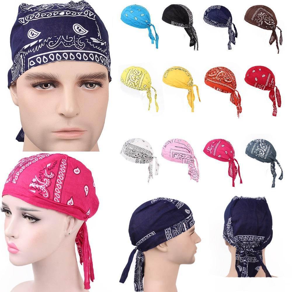 Luxe unisexe coton Durags Bandana Turban Hat casquettes Pirate Perruques Doo Durag Biker Couvre-chef Bandeau chapeau de pirate équitation Casquettes Accessoires cheveux