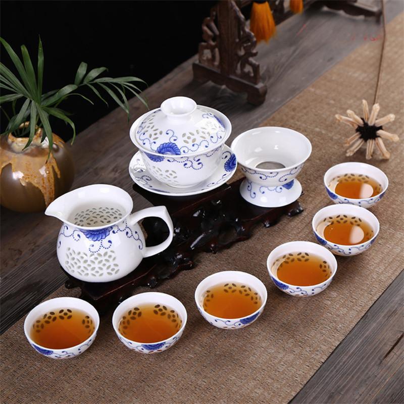 Kung Fu 10 pièces / Set à thé, tasse de thé en céramique, bleu et blanc Teapot, Bone China, service de thé préférés 2019