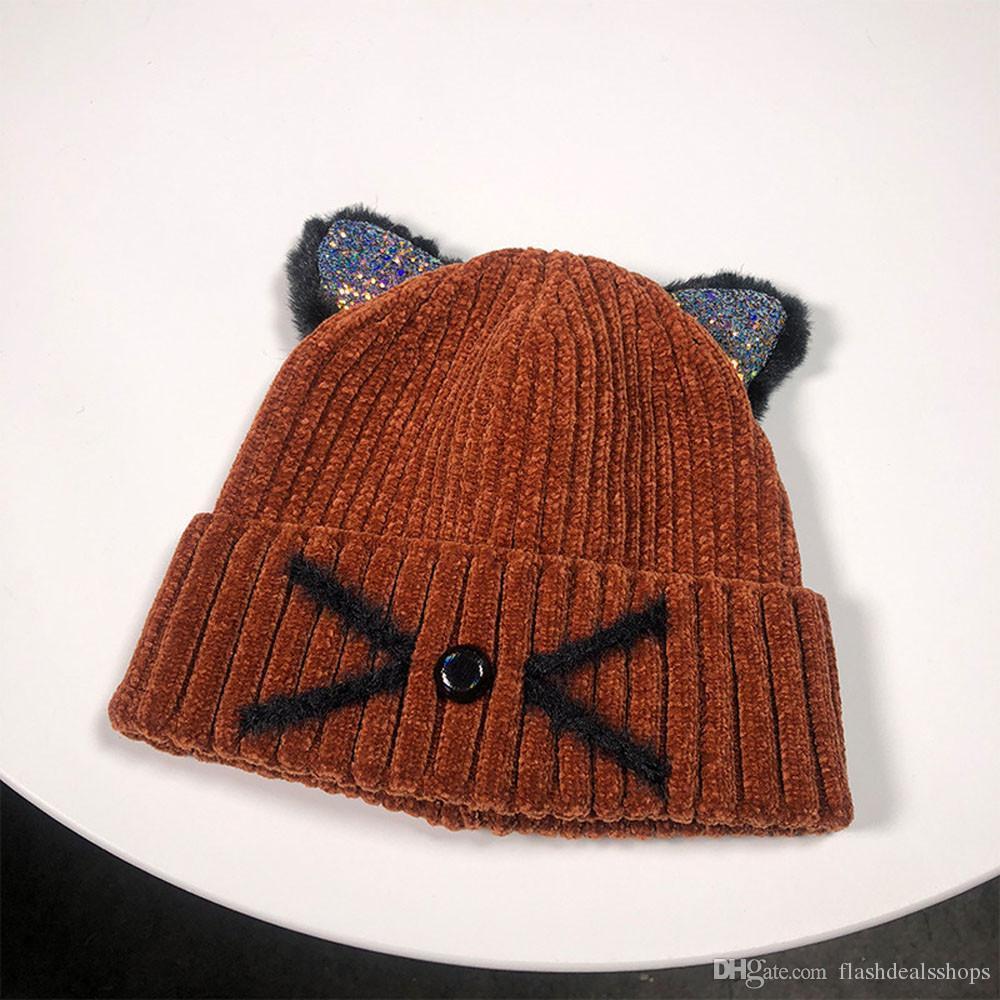 Finter hats for women Keep Warm Cat Ear Winter Hats Knitted Wool beanie Hemming Hat czapka zimowa winter bonnet femme