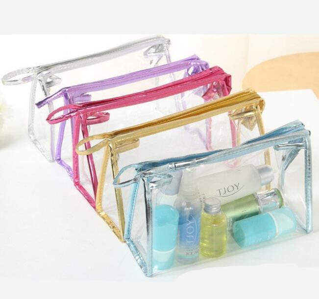 Şeffaf Kozmetik Çanta PVC Fermuar Temizle Su geçirmez Makyaj Çantası Kadınlar Seyahat Tuvalet Saklama Poşetleri Makyaj Organizatör Vaka GGA2042 7styles