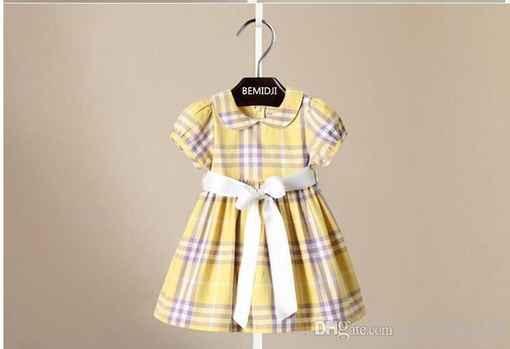 Solapa de verano estilo niña, vestido de corbata a cuadros, vestido de niña de 2 a 6 años