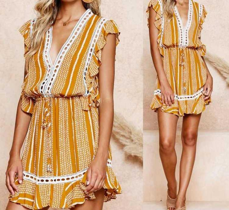 V-Ausschnitt-Kleid-Entwerfer-Sleeveless Spitze Panelled Asymmetrisches Kleid Kleid Art und Weise der beiläufigen Frauen Kleid-reizvolle Blumenmuster