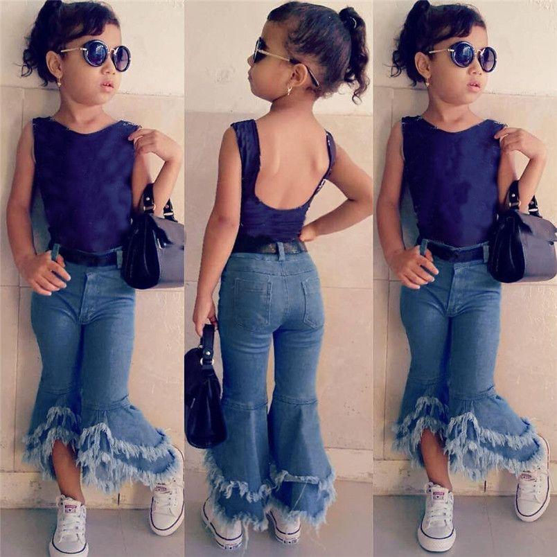 Toddler Kids Baby Girls Flare Pantaloni Denim Tassel Vestiti Jeans Pantaloni Kawaii Jeans per ragazze Bambini congiunto Infantil Hnly24