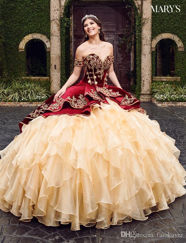 2020 Sweetheart Borgogna Ball Gown Abiti Quinceanera con ricami Gonne a strati Lace Up Piano Lunghezza Vestido De Festa Dolce 16 Abito