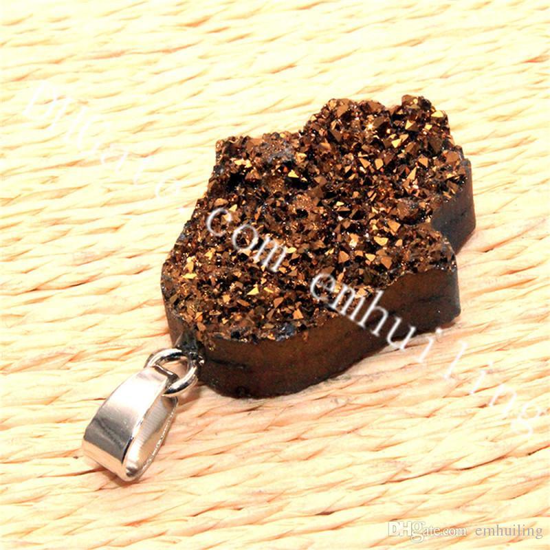 10Pcs Lucky Hand of Fatima Shape Gold Silver Titanium Treated Druzy Pendant Hamsa Hand Quartz Geode Stone Charm Findings for Jewelry Making