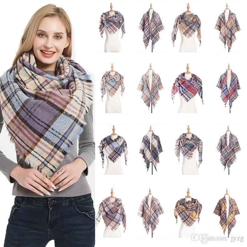 40 стиля плед шарфы девушка Проверить шаль Сетки Крупногабаритной кисточки Обертывание Lattice треугольник шея шарф бахрома пашмины Winter Neckerchief