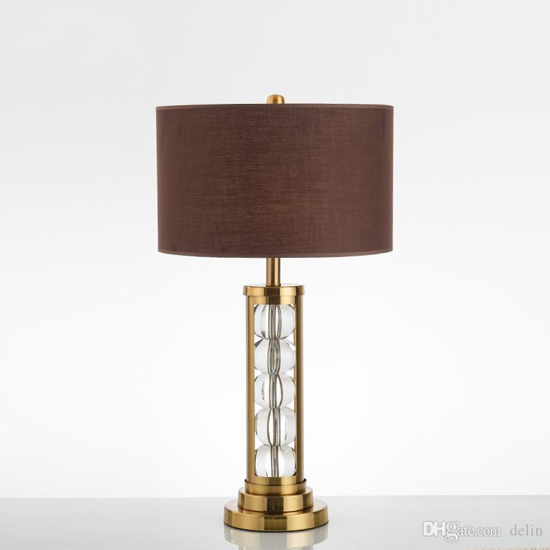 Semplice moderna da tavolo in cristallo lampada da comodino camera da letto Living Room Hotel Lampade da tavolo Deco domestico tessuto Desk Lamp Shade Desk luce 110V 220V