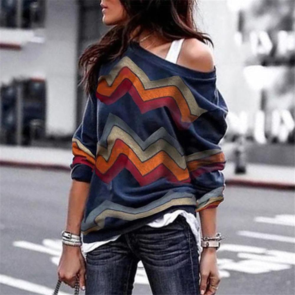 여성 블라우스 섹시한 오프 어깨 긴 소매 셔츠 여성 봄 인쇄 가을 니트 풀오버 Blusas Camisas Mujer