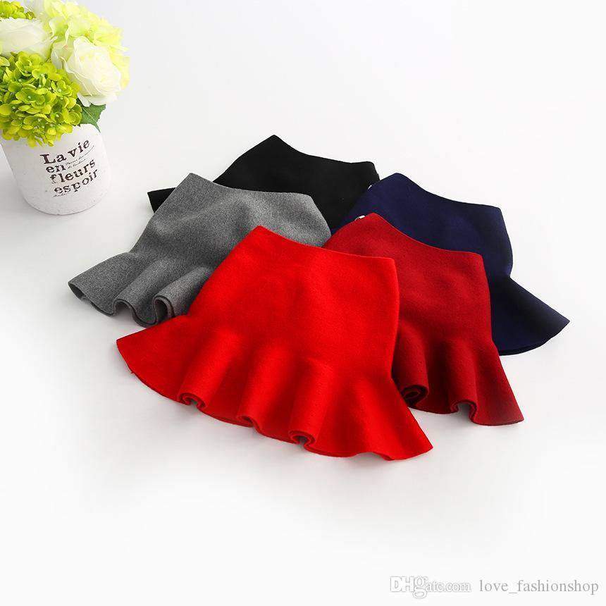 Retail Christmas children wool knitted pleated skirt baby girl designer clothes mini princess dress Winter luxury designer skirts clothing