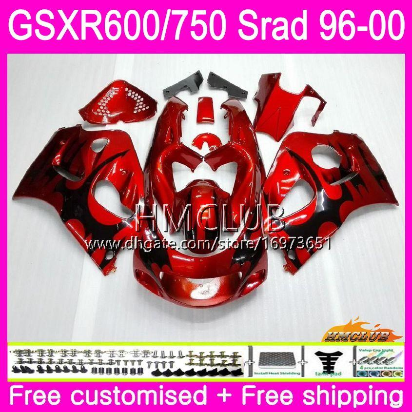 Body For SUZUKI SRAD GSXR 750 600 1996 Black Red 1997 1998 1999 2000 Kit 1HM.21 GSX-R750 GSXR-600 GSXR750 GSXR600 96 97 98 99 00 Fairing