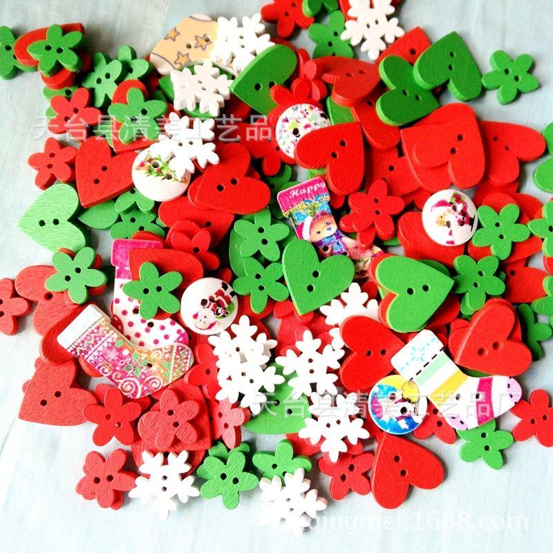 Пятно деревянные кнопки ручной работы DIY рождественские кнопки серии