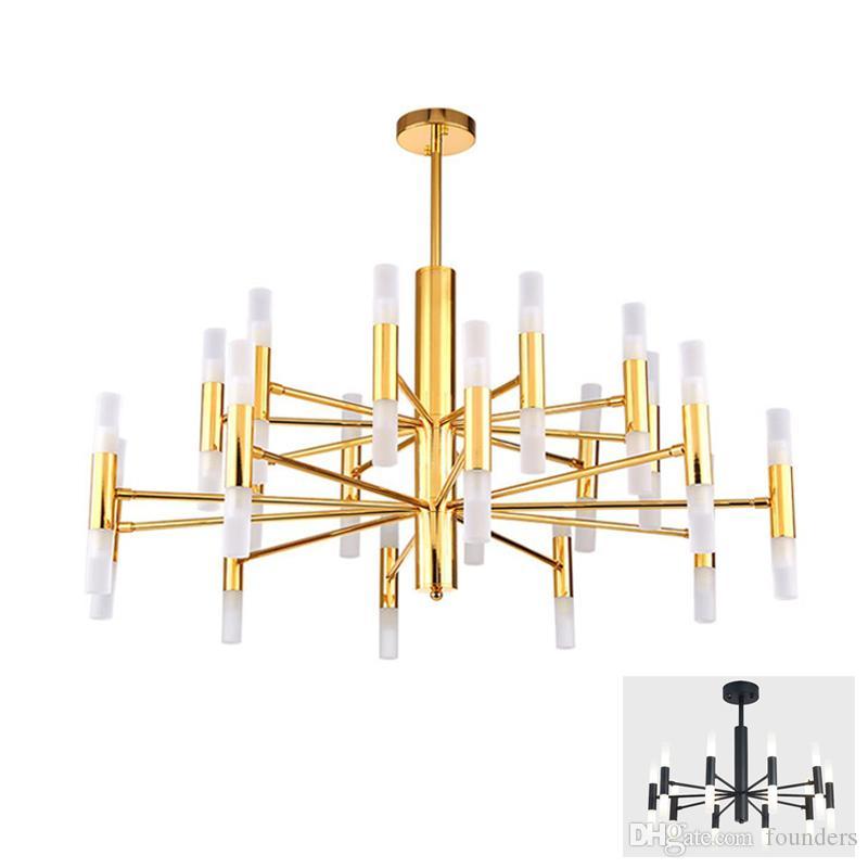 Créateur de mode moderne Noir Or Led Plafond Art Déco Lustre Suspendu Lampe de Lumière pour Cuisine Salon Loft Chambre