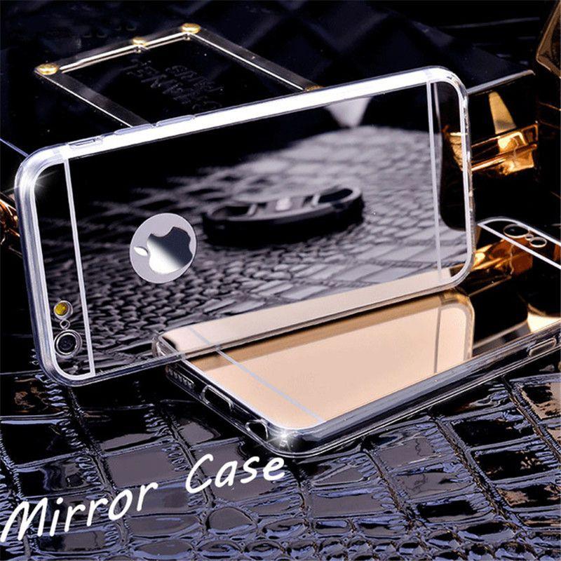 Cubierta protectora suave claro TPU Espejo galvanoplastia caso de la manera para el iPhone X 8 7 6S Plus Sumsung S8 S9 Plus Nota 8 J3 J7 J8 2017 2018