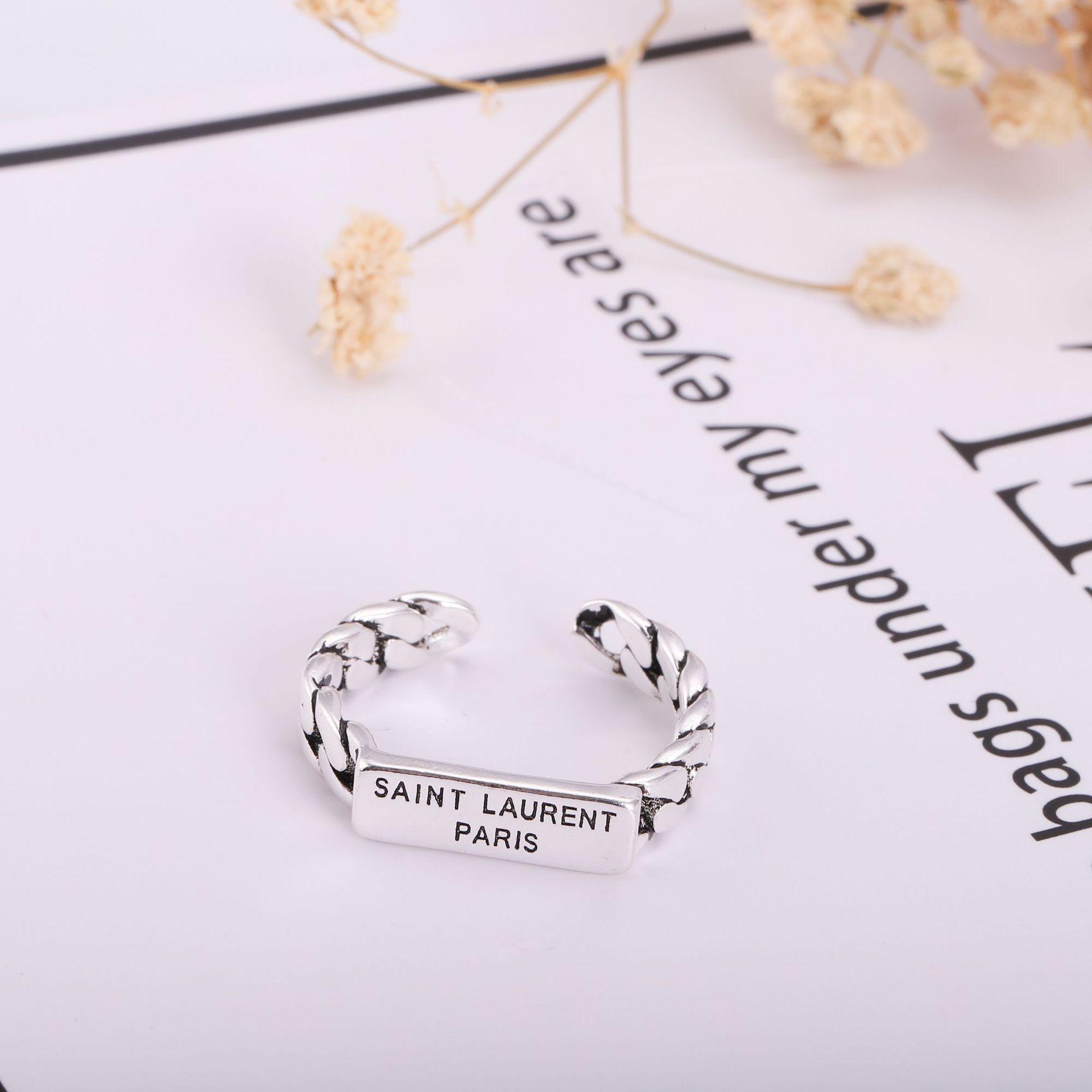 France 19ss Y L Logo Women's Silver Ring No Box Fashion Women Adjustable Rings Hip Hop Men's Finger Ring