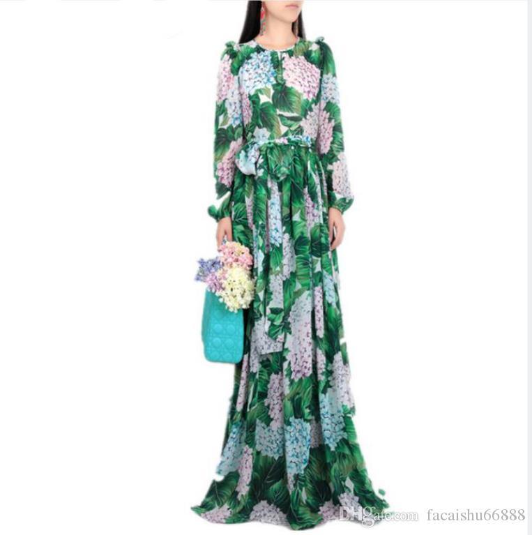 Novo 2019 Runway Hortênsia Floral Vestido de Outono Mulheres Folhas Verdes Flor Imprimir Diamante Botões Tornozelo-Comprimento Plissado Chiffon Vestidos