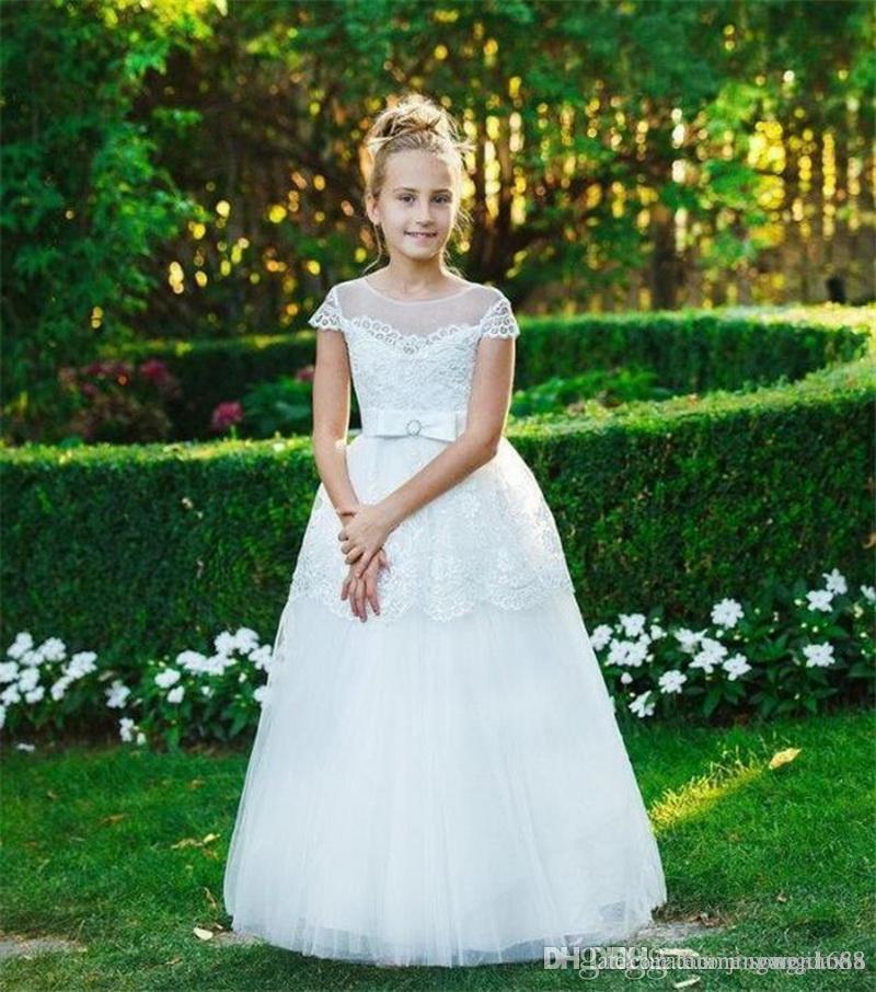 Neue kommende weiße Spitze-Tulle-Blumen-Mädchen-Kleid für Hochzeit schnüren sich oben Rückseite Mädchen-Abend-Kleider Erstkommunion Kleider nach Maß