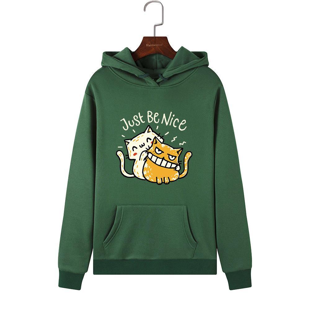 Singrain Frauen übergroße Kapuze Polerones nette Karikatur-Druck-Pullover Langarm Street Warm Damen Cat Pullover Sweatshirt T200102