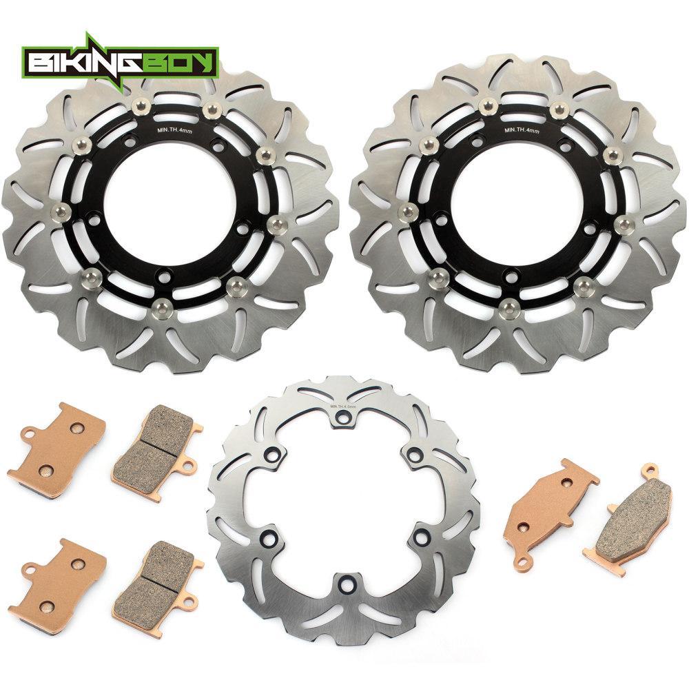 Discos BIKINGBOY Frente Verso Discos de freio Rotores + Pads para GSX 1300 B-King 2008 2009 BK 08 09 K8 K9 GSX1300 Conjunto completo