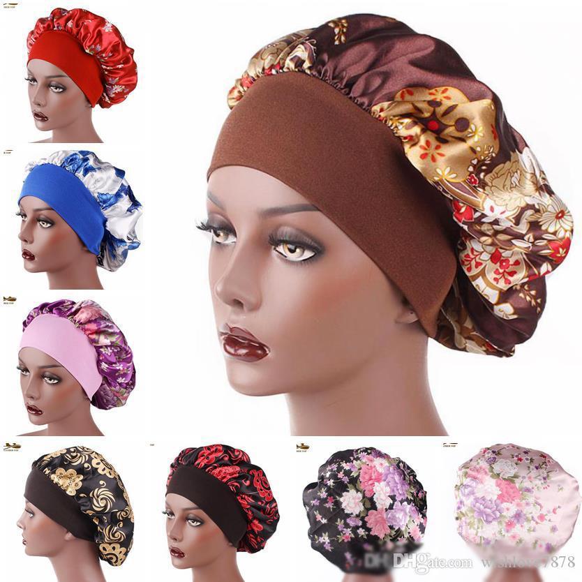 New Fshion Frauen Satin Nachtschlaf Kappen-Haar-Bonnet-Hut Silk-Kopf-Abdeckung breite elastische Band Duschhaube