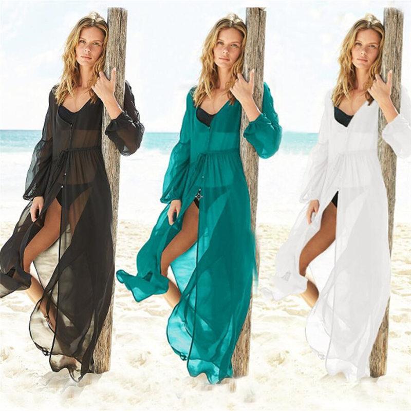 비치 커버 업 쉬폰 블랙 로브 플라 섹시한 여성 카프 탄 드레스 파 레오 비치 수영복 튜닉 카프 탄 사롱 플러스 사이즈 #의 Q331