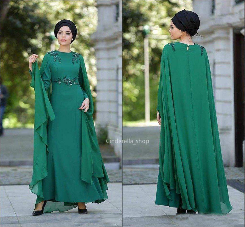 Großhandel Elegante Nahen Osten Lange Ärmel Abendkleider Kaftan Perlen  Dunkelgrün Chiffon Arabric Frauen Formelle Kleider Abaya Abendkleider  Muslim