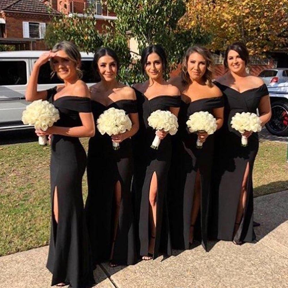 Винтаж с плеча атлас русалка длинные платья подружки невесты рушанные рухнутые свадебные поезда свадьба гостевая горничная честь платья A99