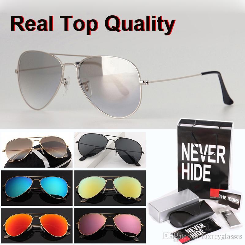 Mejor calidad de las gafas de sol Hombres Mujeres 58 / 62mm piloto Gafas de sol de cristal de la lente Gafas de sol con la caja original, paquetes, accesorios, todo!