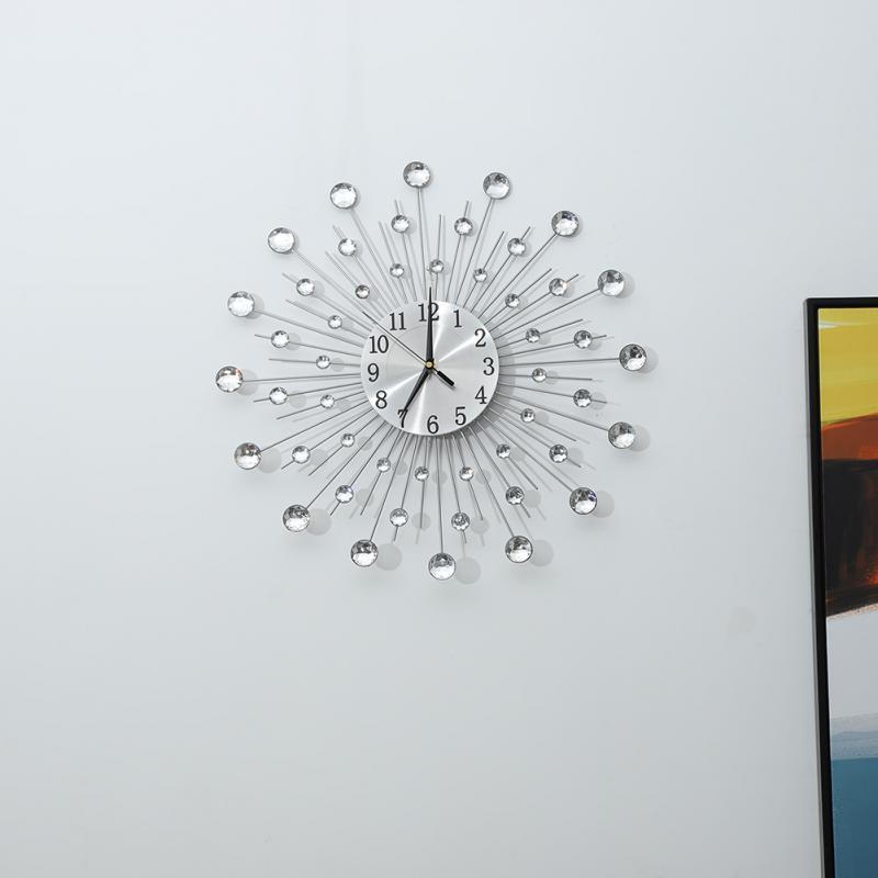 Decoration Art Clock Iron Flower-Shaped Wall-Mounted Clock Rhinestone Large Hanging Wall Clock Home Decoration Creative Wall Clock