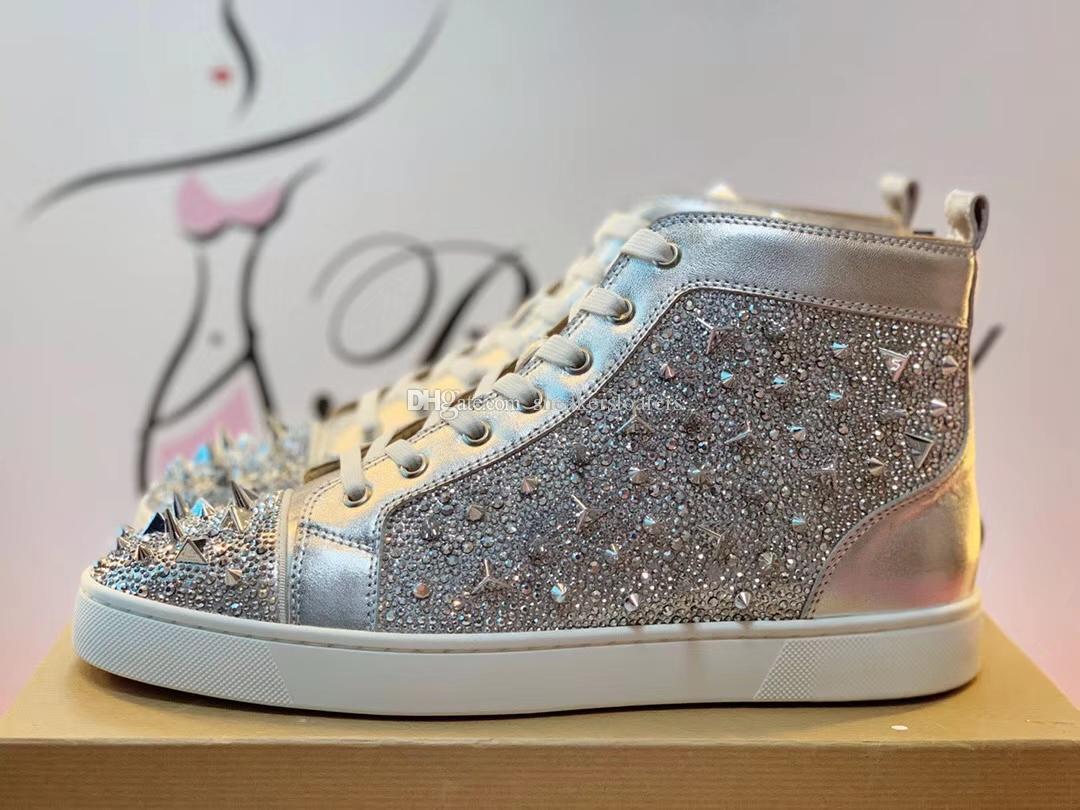 KUTU 35-46 İLE Erkekler için Toptan Kırmızı Alt Sneakers Ayakkabı, Kadın High Top Günlük Ayakkabılar, Moda Pik Pik Perçinler Erkek Düz Yürüyüş Ayakkabı