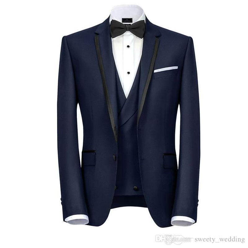 Navy Blue Designer Mens Suits One Button Groomsmen Wedding Tuxedos Notched Lapel Groom Suit With Jacket Vest And Pants Cheap Prom Blazers