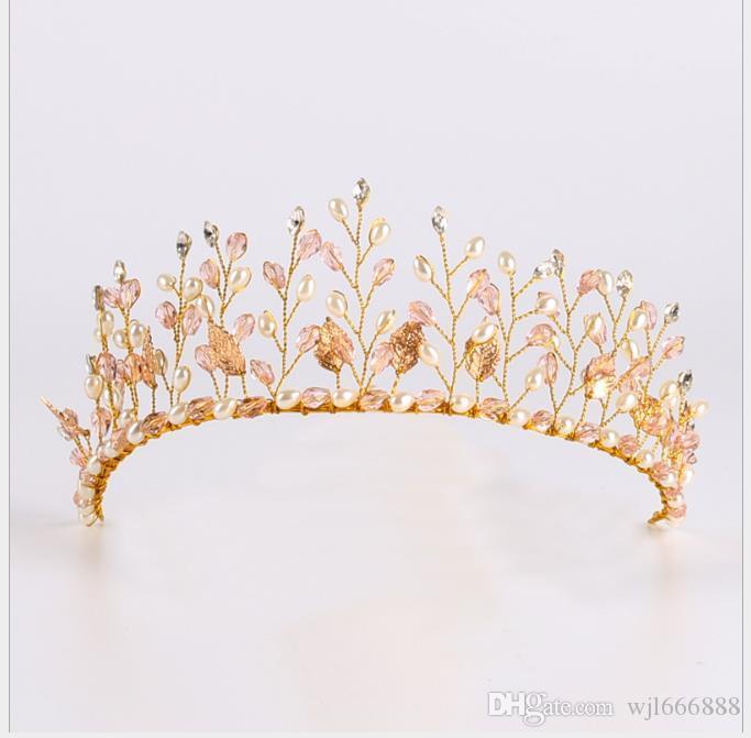 Noiva de cristal rosa cocar artesanal coroa de cristal ornamento do cabelo de casamento