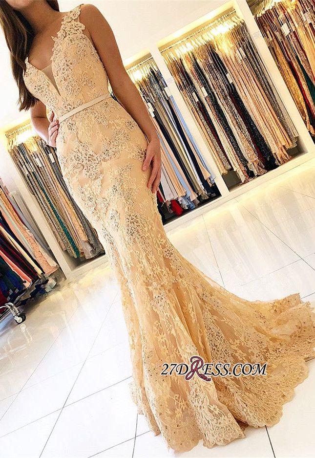 2019 sirène de bal robes longues Décoletté plongeant dentelle perlée Robe de soirée formelle avec fond de verre de cocktail robe de célébrité robe
