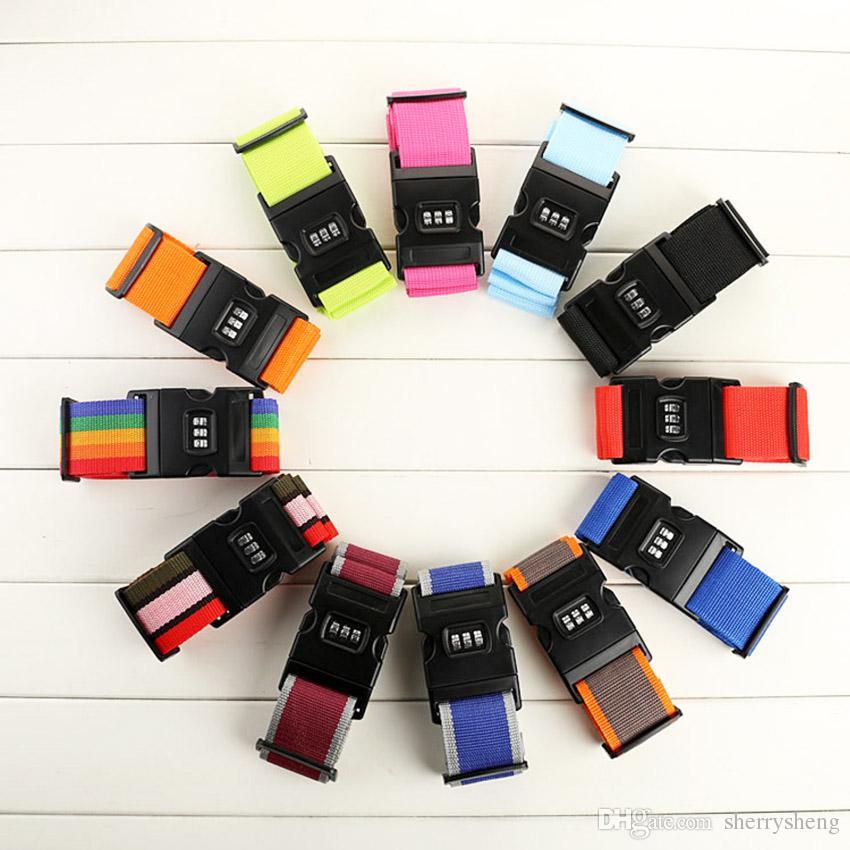 2M luggage strap Baggage Belt Packing Safe Belt Practical Resuable Travel Rainbow ColorBag Belt with Tag