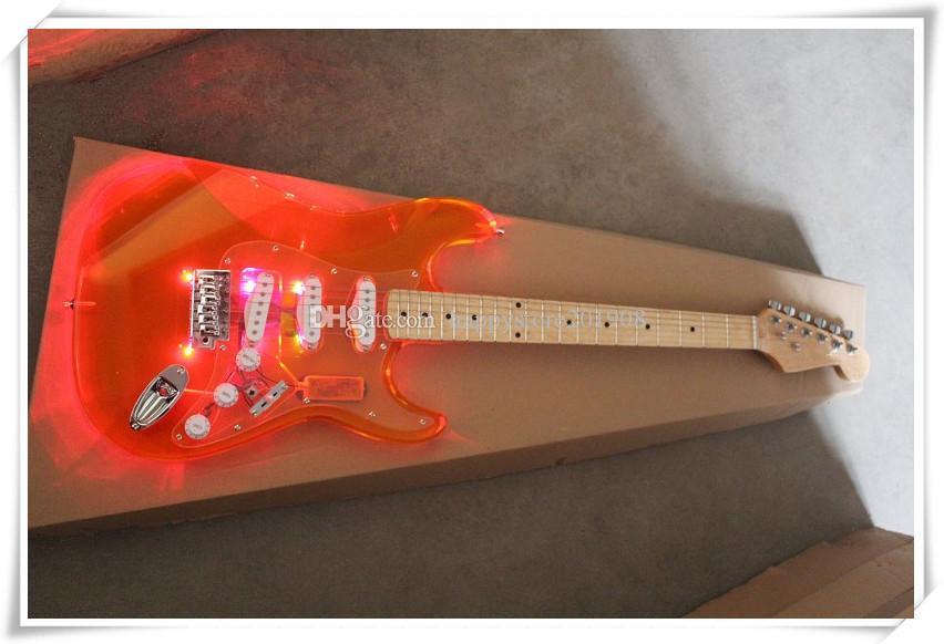 Formato standard Chrome Hardware Arancione Plexiglass acrilico corpo Chitarra elettrica con l'SSS Pickups, può essere personalizzato