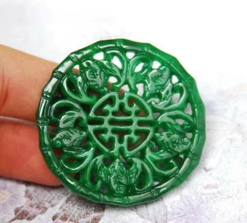 Myanmar jade jade full green dry blue iron dragon raw hollow five blessing linmen jade brand pendant men and women sweater chain pendant