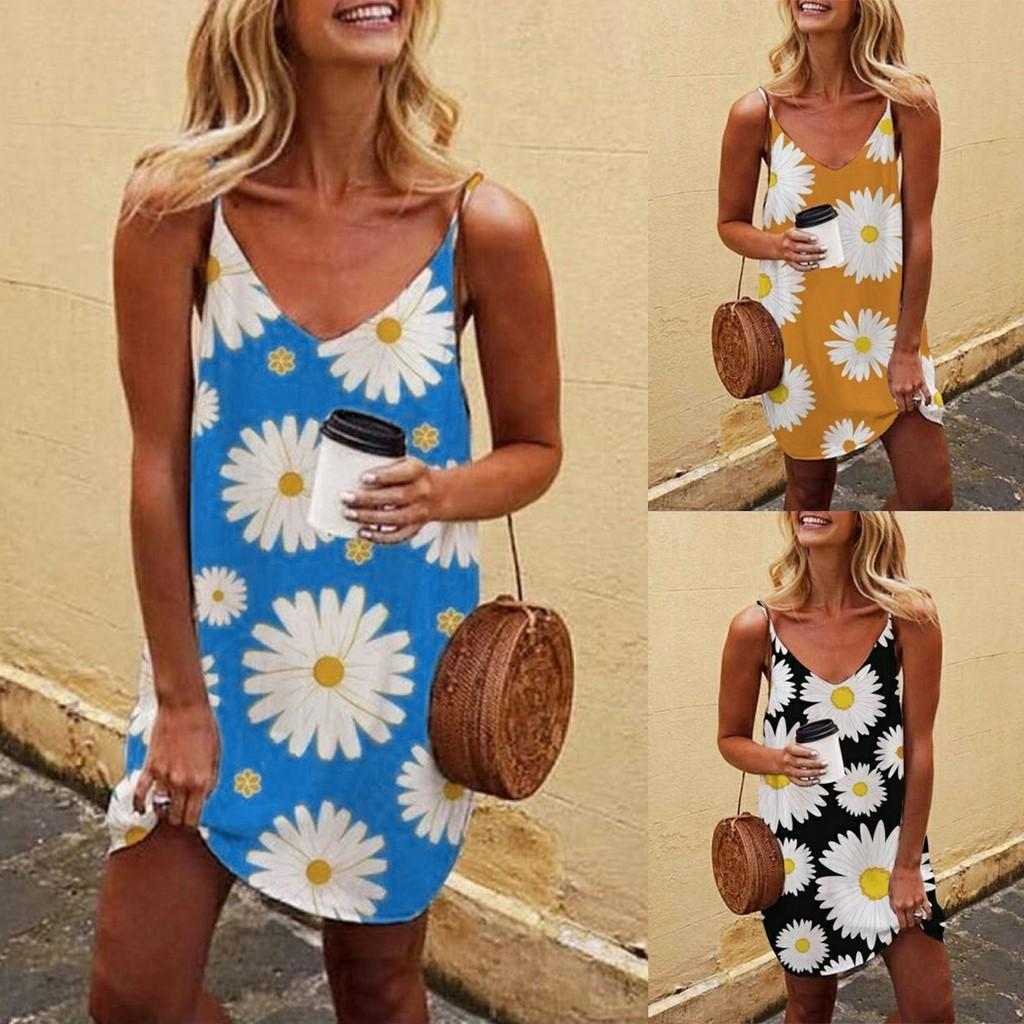 vestido de Womens mangas Floral soltas Fit Ruffle Verão Sunflower Beach Mini Tanque Vestido doces mulheres novo vestido 2020