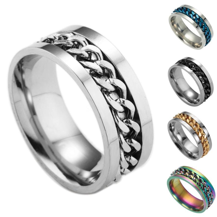 Catene girevoli anelli in acciaio inox mobile Spin catena Anello Hip Hop Jewelry Mens Band Ring Anello di modo Will e Sandy regalo # 658