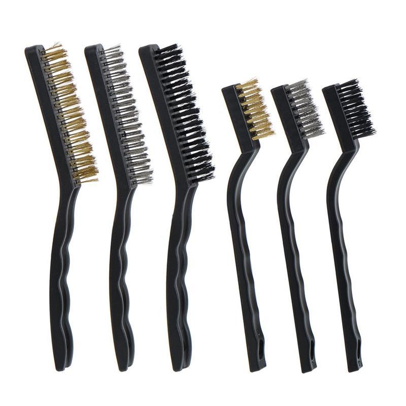 Wire Brush Set per la pulizia scorie di saldatura, ruggine e polvere, 6 pezzi, acciaio inox, ottone e Nylon