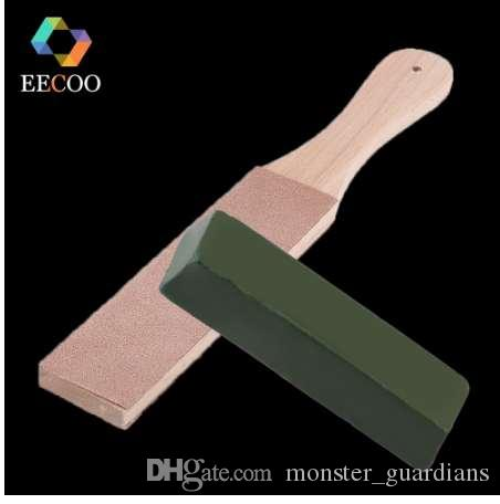 EECOO Knife Sharpener Set Wooden Handle Leather Sharpening Strop Handmade Razors Polishing Board And Polishing Wax Leather Paste