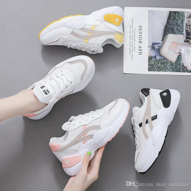 Women Casual Sneaker Black White Split All-match Fashion Womens Outdoor Cloth Shoes Light Tan Pink Mesh Sneakers Size 36-39