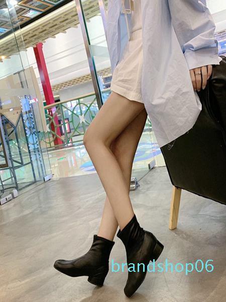 Hot Sale-Schwarz-Leder-starke Ferse Kurz Frauen Stiefel Luxuxentwerfer Mode Markenschuhe Freies Verschiffen Frauen-Mode 0820