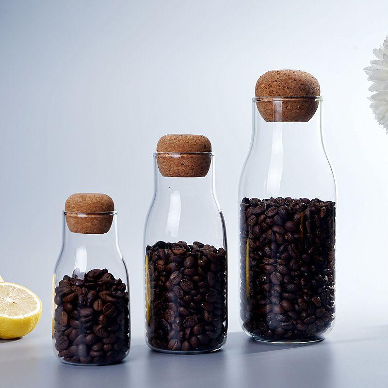 2pcs Transparente latas de vidro selado vidro Armazenamento Jar Food Dried Fruit Multi-grão armazenamento de garrafa Cereal Dispenser T200506
