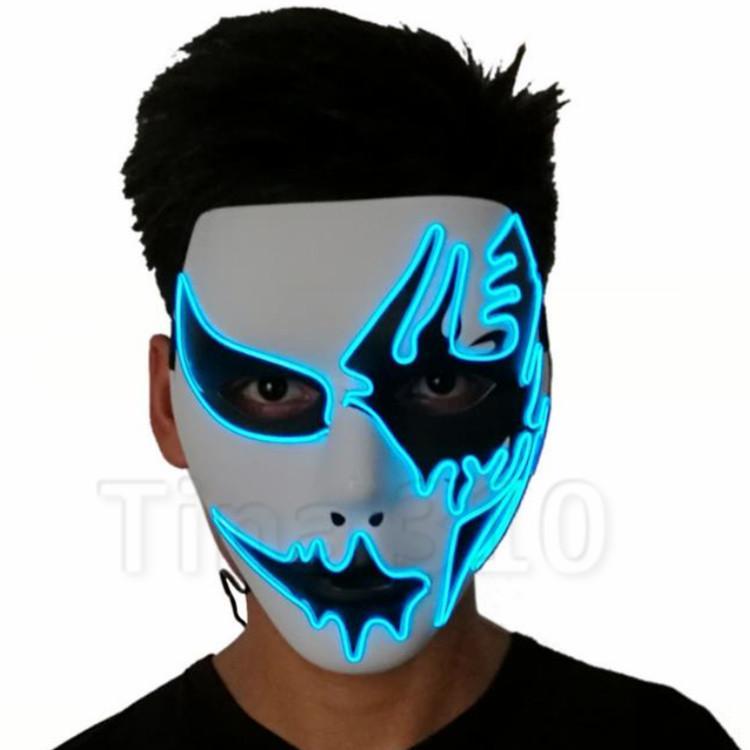 kaltes Licht Schädel Maske handgemalte LED dance Cosplay Maske Kostüm Party Masken street dance Halloween Maske T2I5113