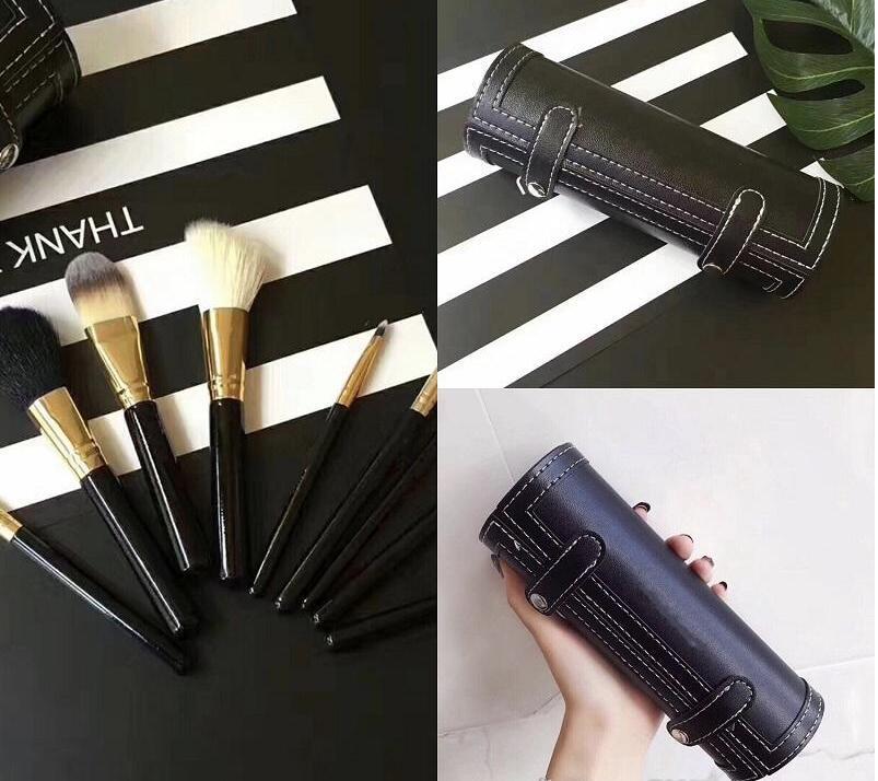 HOT NEW Makeup9Pcs Set Kit для макияжа Кисти Travel имиджмейкеров Wood Handle Фонд Губы Косметика Макияж Щетка с подстаканником Case